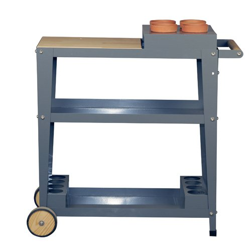 Mobiler Pflanztisch mit robusten Holzrädern und Holzablage | Anthrazit | 75x35x80 cm