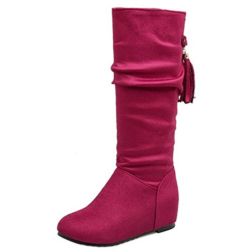 Mid Komforthöhe COOLCEPT erhöht Damen Red Calf Boots Slouch X8ZqS8