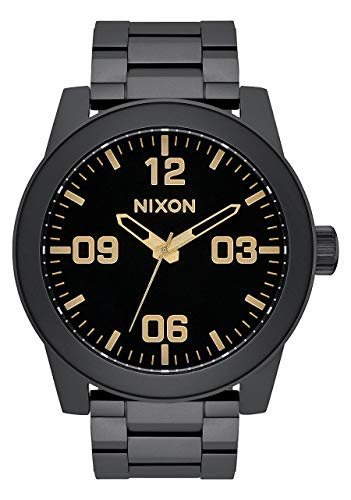 NIXON Corporal SS A350 - Matte Black/Gold - 104M Water Resistant Men's Analog Field Watch (48mm Watch Face, 24mm Stainless Steel Band)