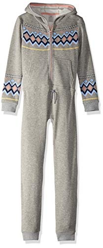 Roxy Little Girls' Cozy up Hooded Fleece One Piece, Warm Heather Grey, 12/L by Roxy
