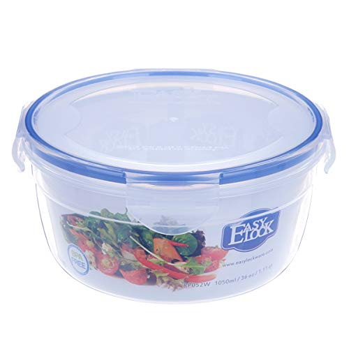 0.27gallon Plastic Food Storage Container with Lid, Airtight Round Salad, Fruit Bowl 35.5oz