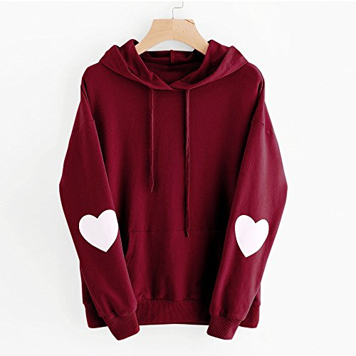 Coeur Rouge Manteau Solike Capuche Tops Blouse Outwear Tops Sweat Automne Chaud Hiver Longues Grande Taille Manches Chemise vin Imprim Pull Femme Fille Sweatshirt 1AWzqW