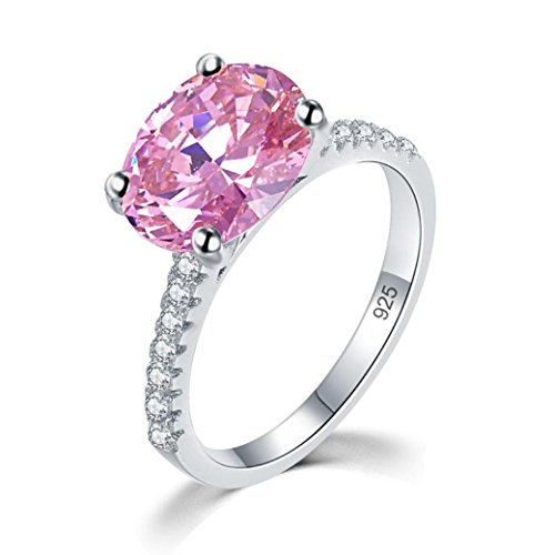 Exquisite Selebrity Solid 925 Sterling Silver 4 Carat Wedding Engagement Promise Anniversary Ring Fancy Pink Oval Cut Luxury 8302 (5) 5 Oval Fancy Ring Setting