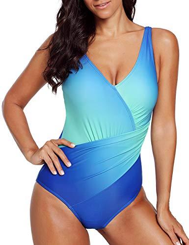 08e601f6eb CILKOO Women's Color Block Tummy Control Monokini One Piece Swimsuit  Swimwear(S-XXL)