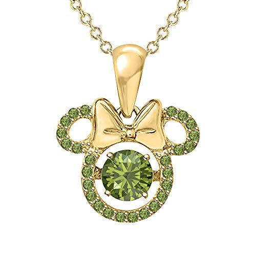 SVC-JEWELS Mickey Mouse Shape Round Cut Green Tourmaline Pendant Necklace 14K Yellow Gold Plated for Women's & Girl's