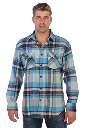 Gioberti Men's Plaid Checkered Brushed Flannel Shirt, Teal/Gray/Coral Line, Size 4X-Large