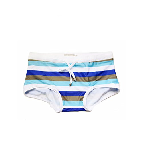 ZQ@QXSlip de bain pour hommes zebra stripe Klein maillot de bain bikini bas serré,L,Blue