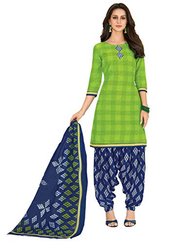Miraan Women Cotton Unstitched Dress Material (SGPRI704, Green, Free Size)