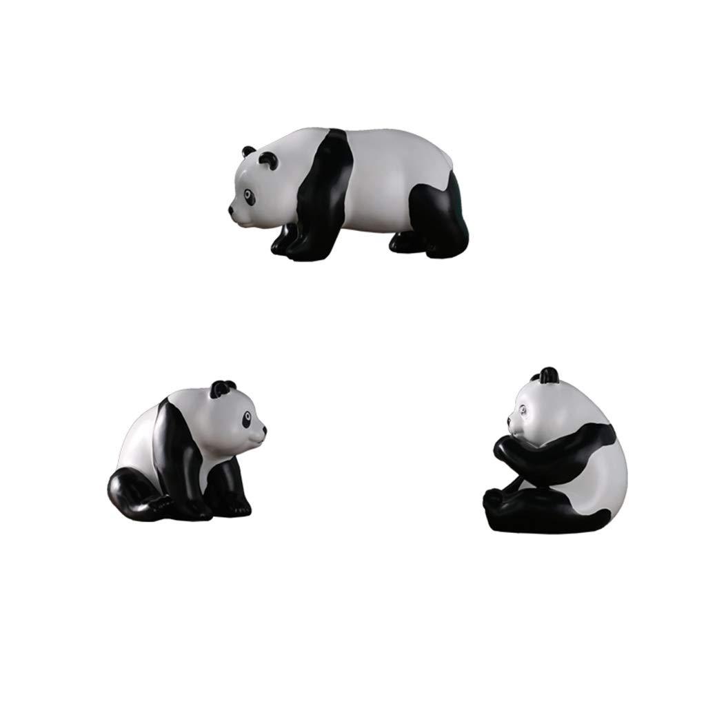 装飾材料 像パンダスリーピースセットホーム寝室動物の装飾飾り樹脂子供工芸品 (Color : Black, Size : 23*11*13cm) 23*11*13cm Black B07TKL3J7V