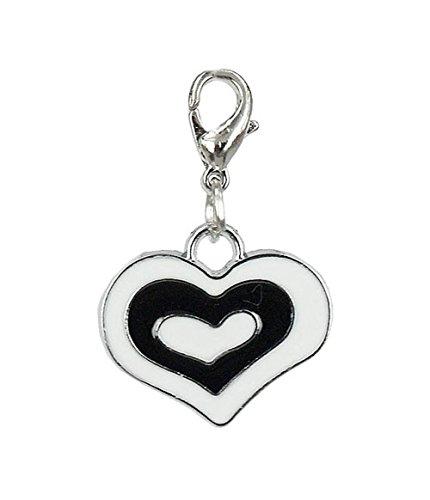 Charm coeur noir et blanc de la marque Charming Charms