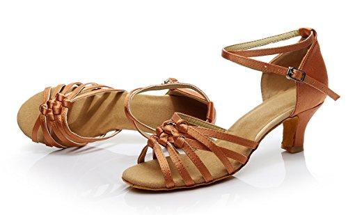 ShangYi Dance Shoes Latin Dance Shoes Female Adult Lady Latin Shoes Soft-soled High-heeled Women's Dancing Shoes, with height 5cm, deep skin, EU36/UK4/CN36