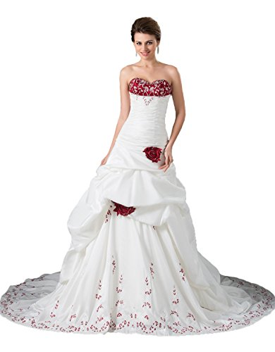 Snowskite Women's Strapless Pick-up Satin Embroidery Wedding Dress Ball Gown White&Burgundy 12