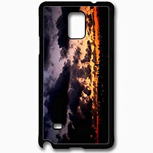 Unique Design Fashion Protective Back Cover For Samsung Galaxy Note 4 Case Evening Clouds Lights Black