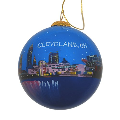 Hand Painted Glass Christmas Ornament - Cleveland, Ohio Skyline Night