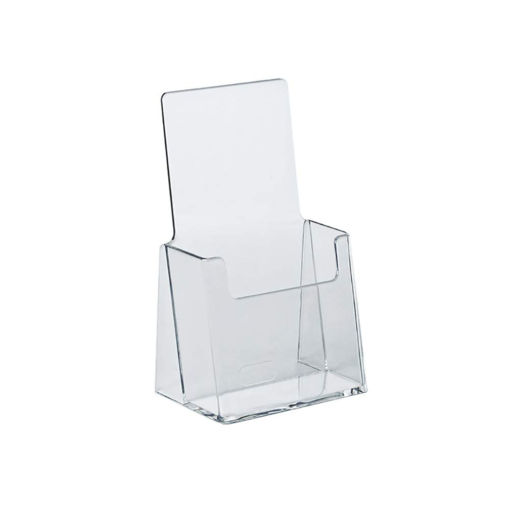 "Azar Displays 252012 Clear Tri-Fold Brochure Holder, Acrylic Boxes for Display - Table Menu Holder Stands (4.125"" W by 2.875"" D by 7.25"" H) - Tabletop Pamphlet Holder - Literature and Leaflet Holders"