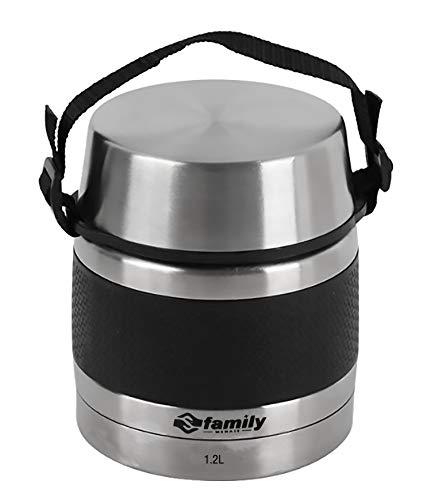 FAMILY Termo para Comidas de Acero Inoxidable, Recipiente Aislado para Solidos y Liquidos con Recipiente Interiores para Sopas, Salsas o Ensaladas (Negro, 1 2L)