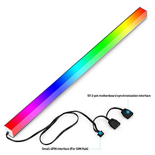 GIM KB-14 RGB PC Light Strip for Gaming Case, Compatible with GIM Hub, Magnetic Addressable LED Strip Kit, 5V ARGB 3Pin Header for Asus Aura, Asrock LED, Gigabyte RGB Fusion, MSI Mystic Light- 1.31ft