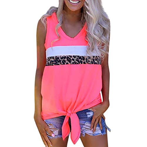 (Women's Sleeveless Shirts, Fashion V Neck Triple Color Block T-Shirt, Summer Tie Knot Casual Tank Top Blouse for Ladies Pink )