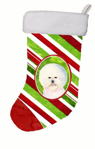 Stocking Bichon Christmas (Caroline's Treasures SS4595-CS Bichon Frise Winter Snowflakes Christmas Stocking, 11 x 18