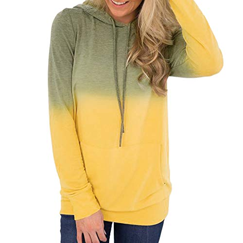 - TUSANG Women Pocket Gradient Long Sleeve Hoodies Sweatshirt Pullover Shirt Tops Blouse Outwear(Yellow,S)