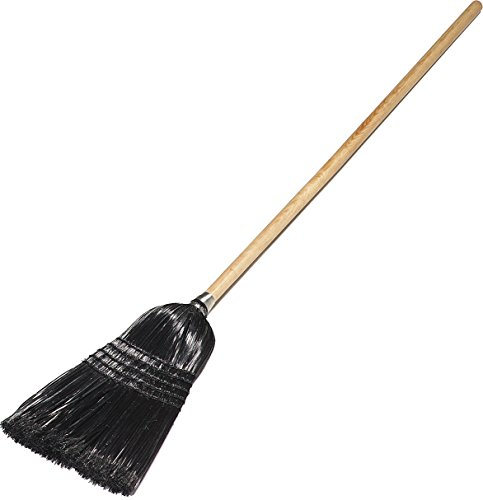 Carlisle 4168003 Synthetic Corn Maid/Parlor Broom with Wood Handle, Polypropylene Bristles, 55'' Overall Length, Black (Case of 12) by Carlisle