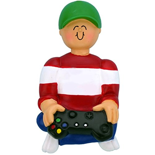 Addict Ornament - Personalized Playing Video Game Christmas Ornament for Tree 2018 - Gamer Boy with Black Controller Joystick Computer Addict Hobby Playstation Nintendo Grandson - Free Customization by Elves