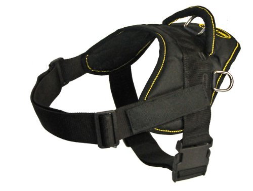 DT Fun Harness, Clear Patches, Black With Yellow Trim, X-Large – Fits Girth Size: 34-Inch to 47-Inch, My Pet Supplies
