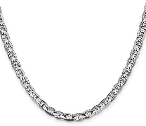 14k White Gold 18in 4.4mm Concave Anchor Necklace