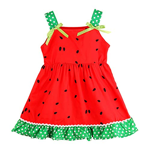 Baby Kids Girls Dress Sleeveless Watermelon Print Ruffle Hem Princess Sundress Summer Casual Outfit (1-2Y, Red)