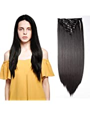 Hairro Clip in on Hair Extensions (#2A Natural Black) Long Straight Synthetic Hair Piece Full Head Thick Heat Resistance Hairpieces for Women 26 Inch 140g (8pcs 10 Clips)