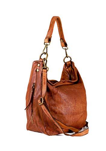 The Extreme Collection borsa a spalla donna tote - shopper in vera pelle colore marrone made in italy 30x40x17cm Mostaza