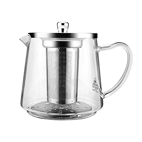 Teapot 1200ml / 41oz, Glass Teapot with Removable Infuser and Lid, Tea Pot Microwavable and Stovetop Safe, Tea Maker and Tea Strainer for Loose Leaf Tea and Blooming Tea