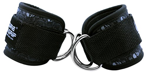 Grip Power Pads Best Ankle Straps for Cable Machines Double D-Ring Adjustable Neoprene Premium Cuffs to Enhance Legs, Abs & Glutes for Men & Women (Skull, Pair) by Grip Power Pads (Image #4)