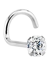 3mm (.10 ct. tw) Diamond 14K White Gold Nose Rings Twist Screw