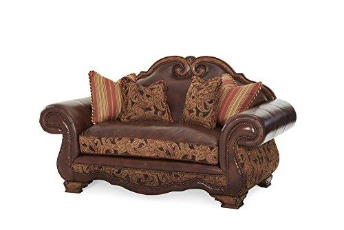 - Michael Amini 34925-BRICK-26 Tuscano Leather/Fabric High Back Loveseat, Biscotti