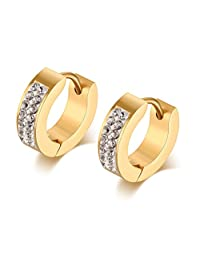 Mens Womens Stainless Steel CZ Diamond Accent Huggie Small Hoop Earrings,18K Gold Plated
