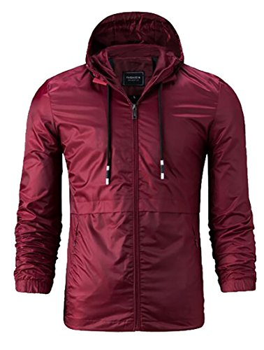 today-UK Men Zippered Hooded Jacket Windbreaker Coat Lightweight Outwear Wine Red