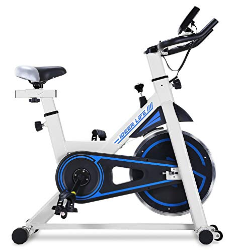 IDEER LIFE Exercise Bike Indoor Cycling Stationary Bike for Home Sport Workout,Adjustable Sport Exercise Bike for Home Indoor Cardio,w/Pulse Sensor&LCD Monitor,Max Capacity:330lb (White)