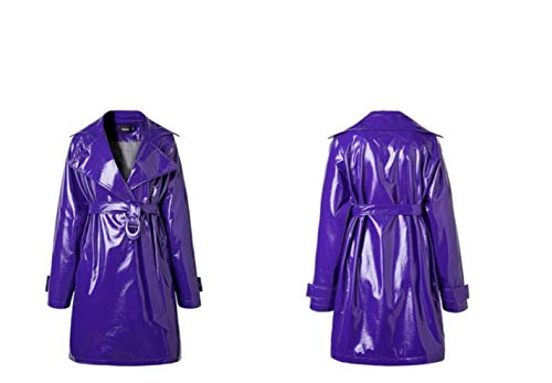CHANGYUGE Women Long Faux Leather Trench Coats