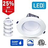 OSTWIN 6 inch LED RECESSED CEILING LIGHT with Junction box, Baffle Trim, Dimmable Air Tight Downlight, 15W (100Watt Replacement), 4000K (Bright white), 1050 Lumens, No Can Needed (4 Pack), ETL Listed