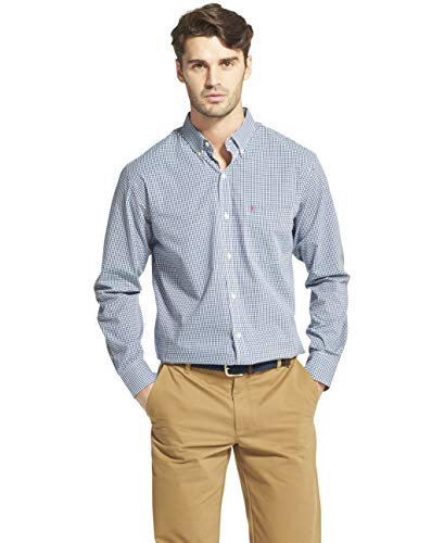 (IZOD Men's Button Down Long Sleeve Stretch Performance Gingham Shirt, Estate Blue, Medium)