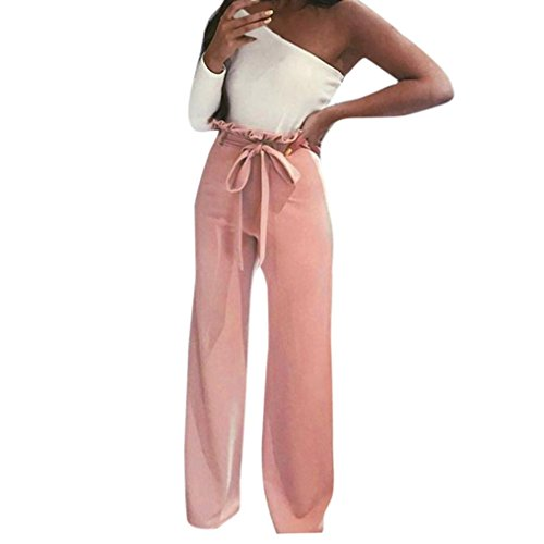 Womens Pants Liraly High Waist Solid With Belt Long Bodycon Pants Casual Clubwear (M, Pink)