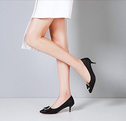 Hingewiesen Metall Schnalle Dünn mit mit Damenschuhe XZGC Fashion EUxn0wRq
