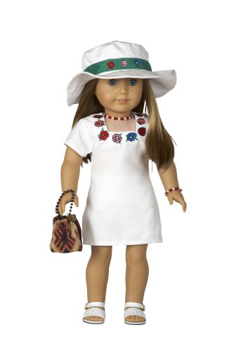 Embroidered Dress with Matching Hat, Sandals and Purse and Sandals - Outfit Fits 18