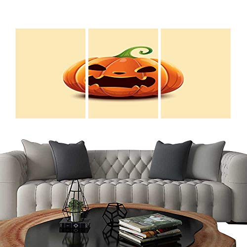 UHOO Triptych Paintings Combination DecorativeRealistic Vector Halloween Pumpkin Angry Scaring face Halloween Pumpkin Isolated on Light Background Bedroom,Hotel so on -