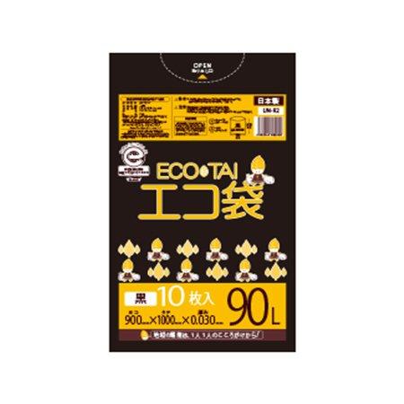 サンキョウプラテック エコ袋 90L 0.030厚 黒 10枚入×40冊 UN-92 B077YTTG9Wブラック 厚さ0.030mm