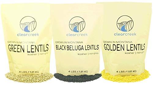 🥇 Green Lentils • Black Beluga Lentils • Golden Lentils • Non-GMO • 12 LBS Total • 100% Non Irradiated • Kosher • USA Grown • Vegan