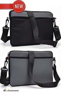 "11-inch Laptop Bag fits 11.6"" Gateway EC19C09U Messenger Briefcase - GREY. Bonus Ekatomi screen cleaner sticker"