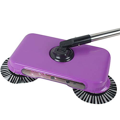 Pevor Natural Sweep Dual Brush Sweeper without Electricity, Manual Push Sweeper with 360 Degree Rotating Brush for Floors, Pink (Perfect Sweep Dual Brush Sweeper)