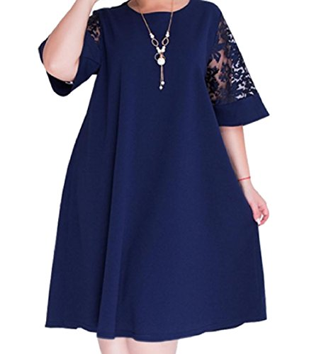 Dark Cocktail Hem Loose Plus Splice Sexy Big Lace Women 5XL Blue Size Coolred Dress nHpqxwPz0